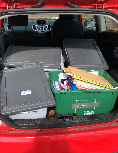 Car boot full of boxes