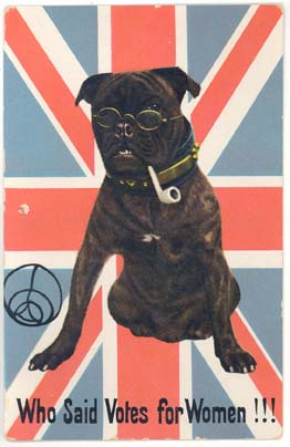 One of two Political satirical cards of the suffragette period - Bulldog with superimposed spectacles and pipe, against a Union Jack background. Caption 'Who said votes for Women!!!'.