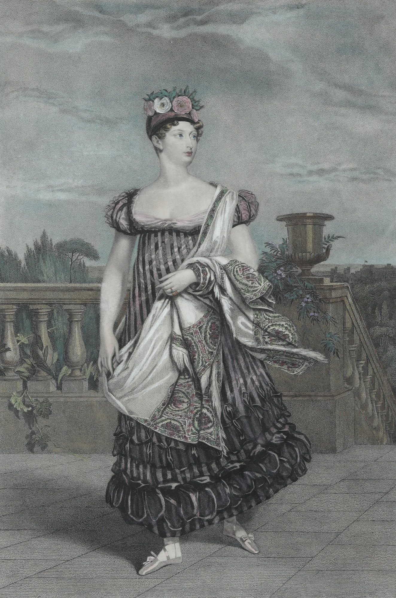 Hand-coloured print of Princess Charlotte of Wales, 1816. Original by Henry Meyer; engraved by Alfred Chalon.