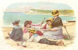 An example of children playing outdoors on the beach from the front of a Victorian greetings card.
