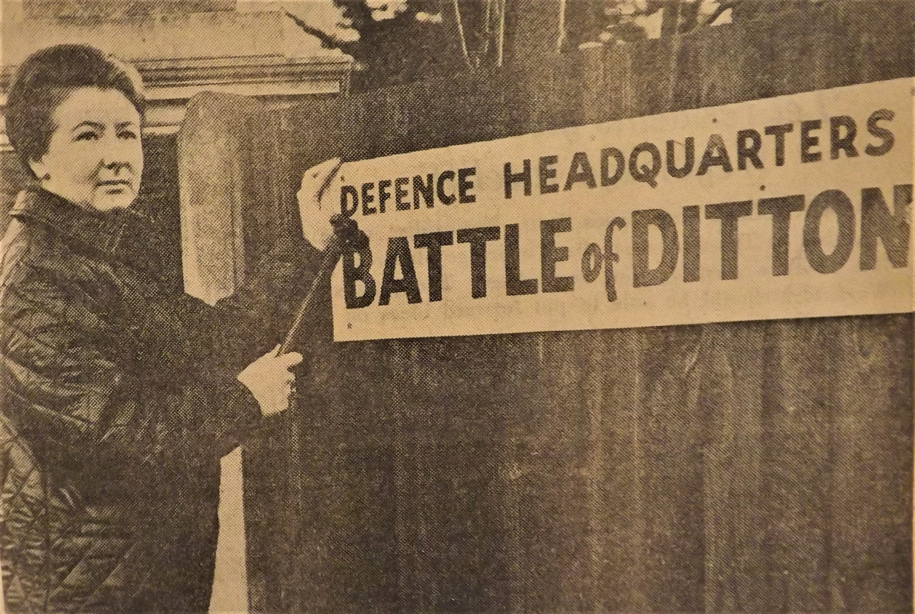 Photograph from a local newspaper reporting on the 'Battle of Ditton', where protestors set up a Battle Headquarters in order to plan their protest.