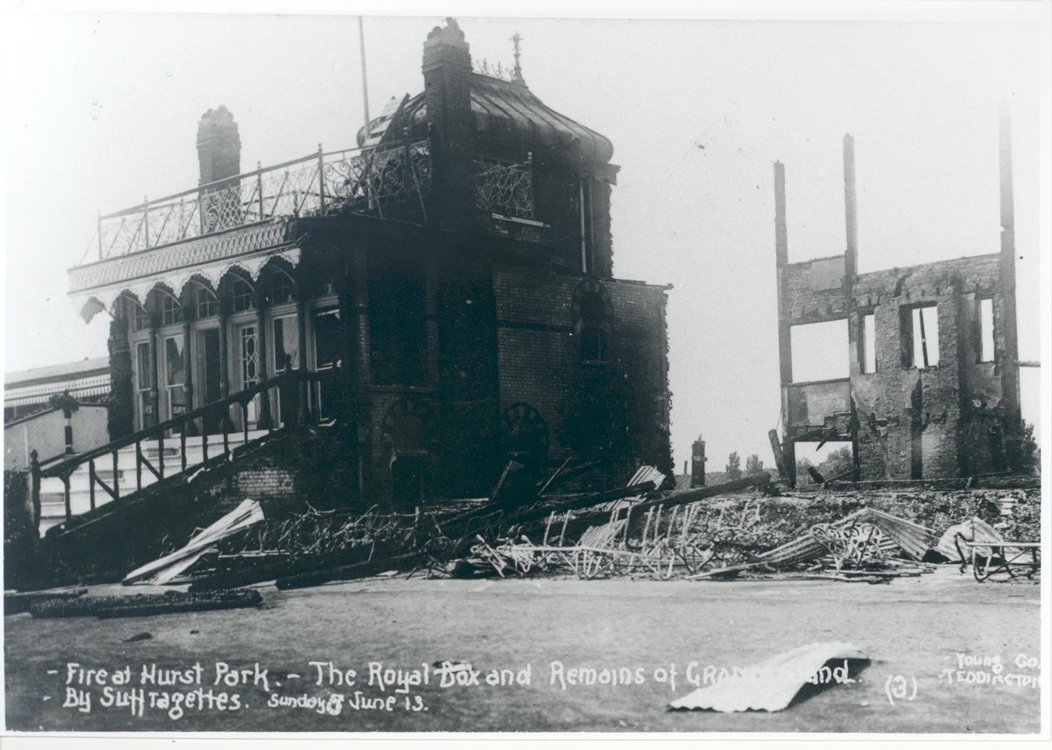 the remains of Hurst Park Grandstand after Suffragette arson, June 1913.