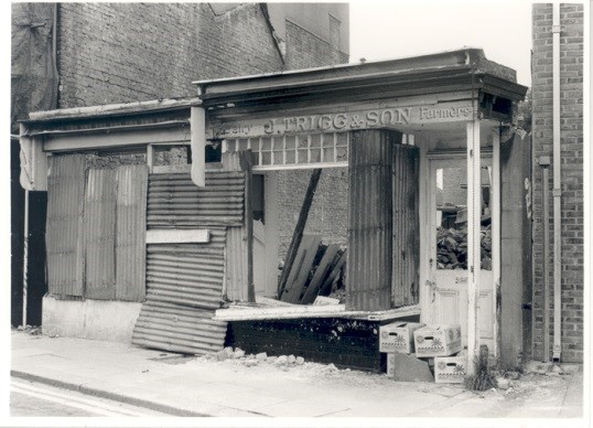 The fate of J.Trigg & Son, a local dairy shop. It used to be more common than it is now for independent dairy shops to buy milk directly from dairies and sell it door to door. This photo was taken in 1987 after the closure of their Molesey Road shop.