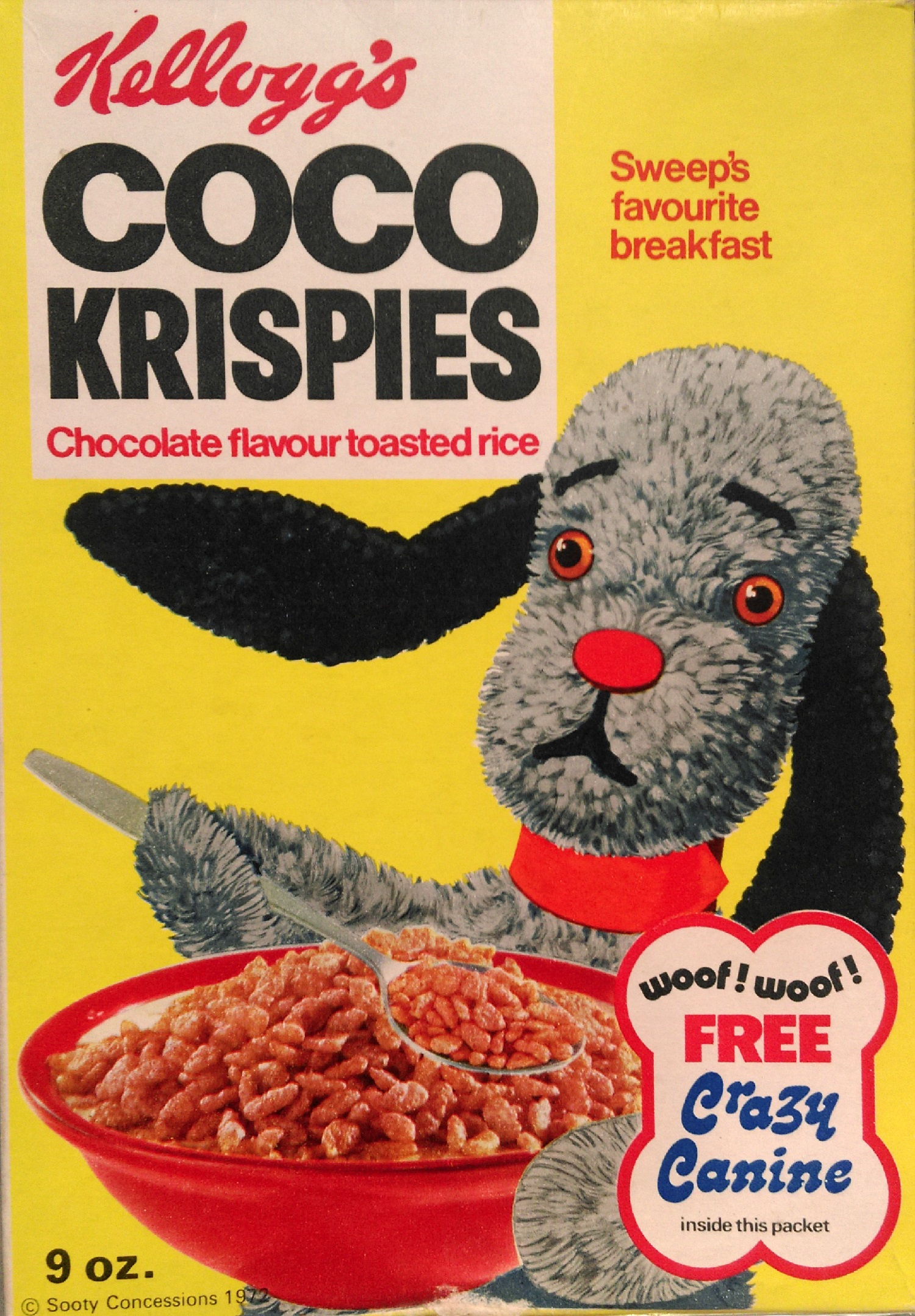 Kellog's Coco Krispies packet from 1972, with a picture of Sweep the poodle on the front. On the back is information about free