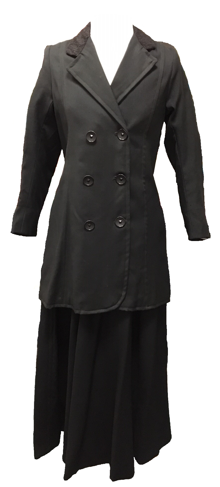 This navy blue 'costume' dating from 1910 consists of a black worsted jacket with crepe collar and a skirt of heavy twill weave.
