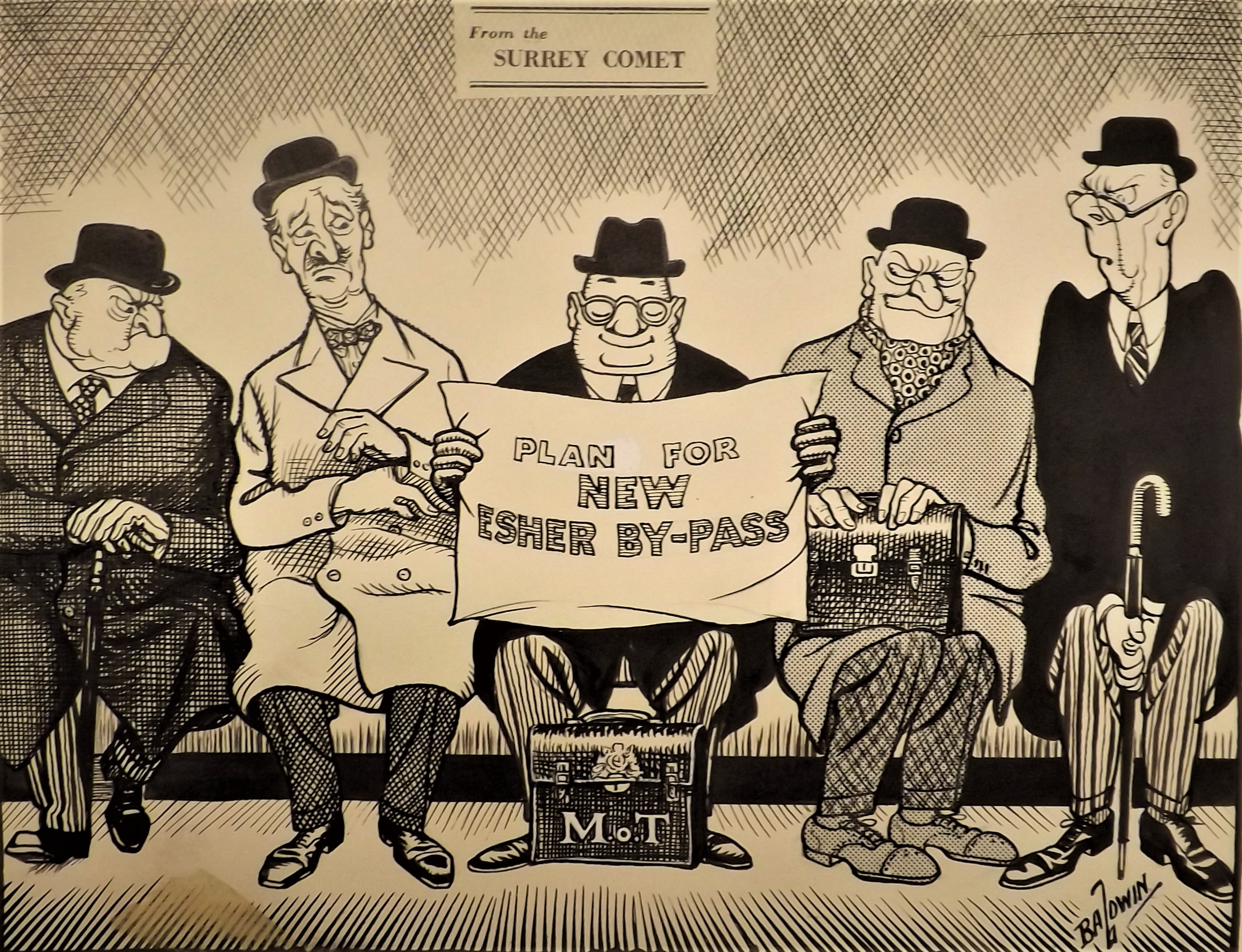 Cartoon from the Surrey Comet criticizing plans for the new Esher Bypass, 1974.
