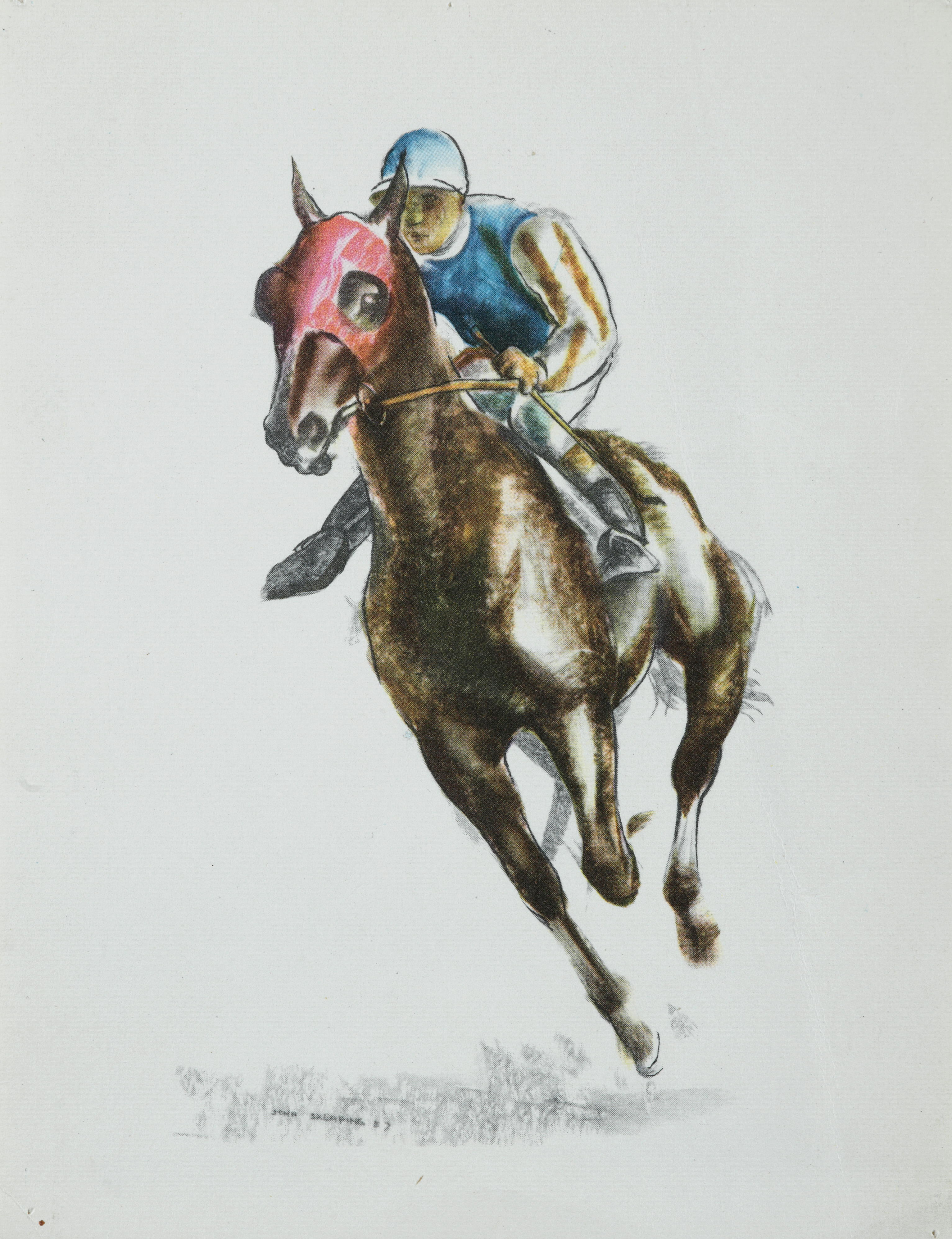 Print from original watercolour of horse and jockey entitled