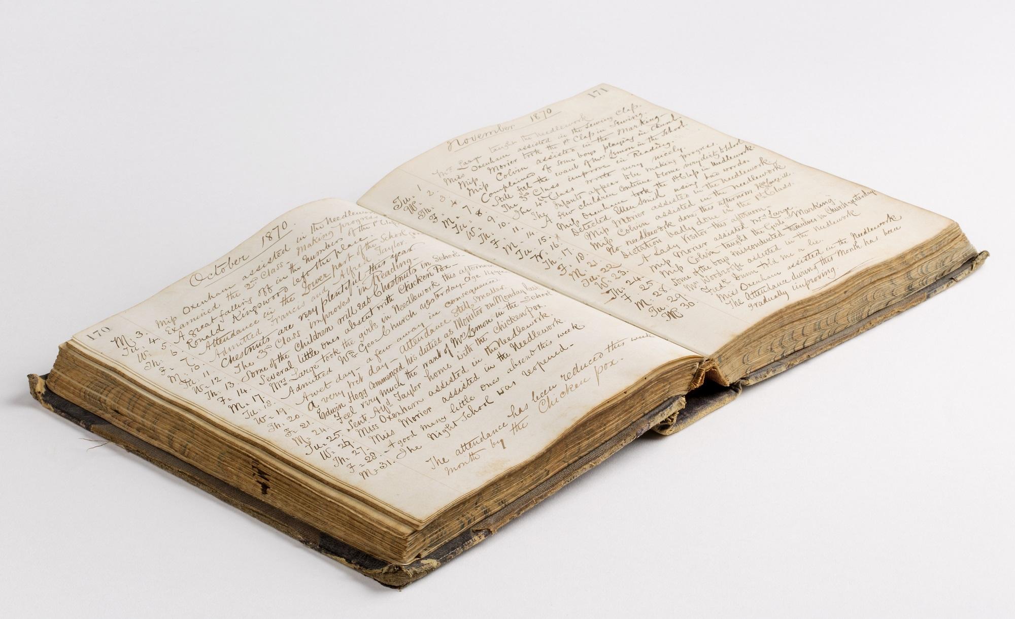 Inside the Oatlands School log book, 1862-1883.