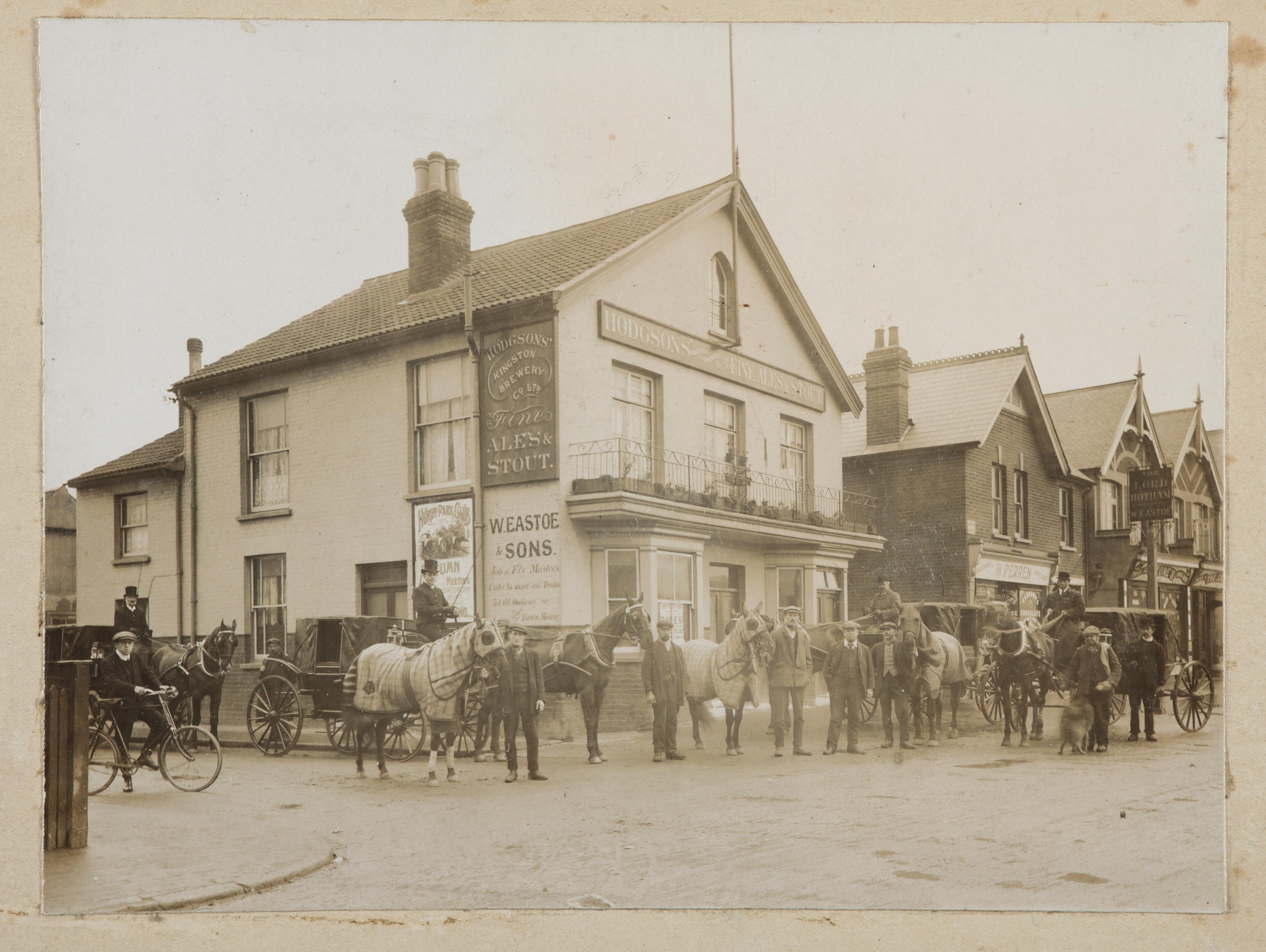 Photo of advert for Hurst Park meeting at Lord Hotham pub, 1910.