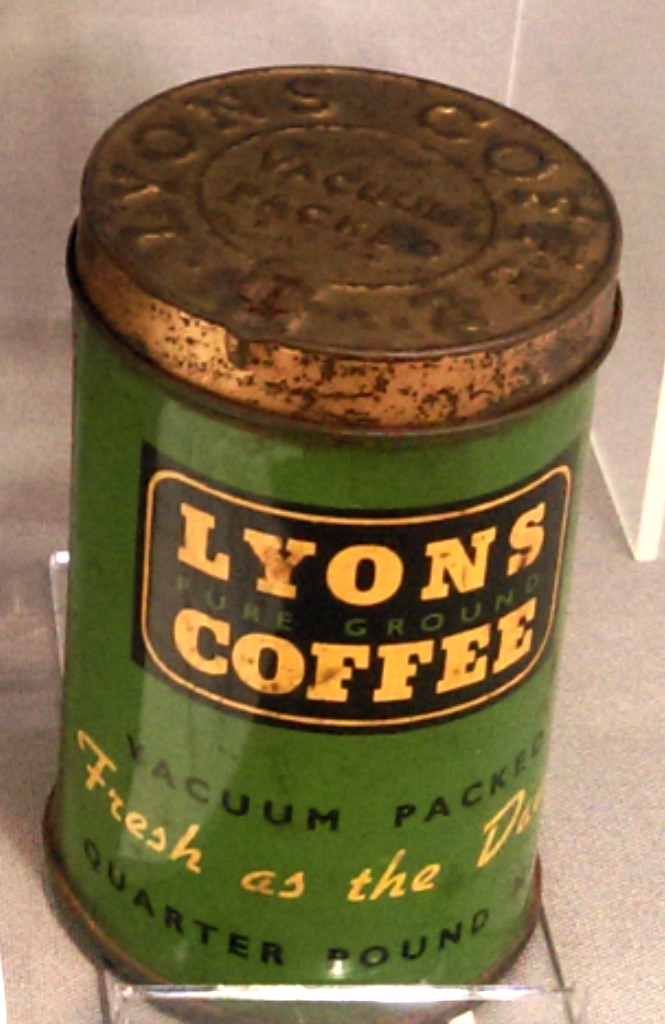Full tin of Lyons Pure Ground Coffee, c. early 20th Century.