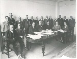 Photograph of the first Milk Marketing Board meeting at Thames House, London on 6th October 1933.