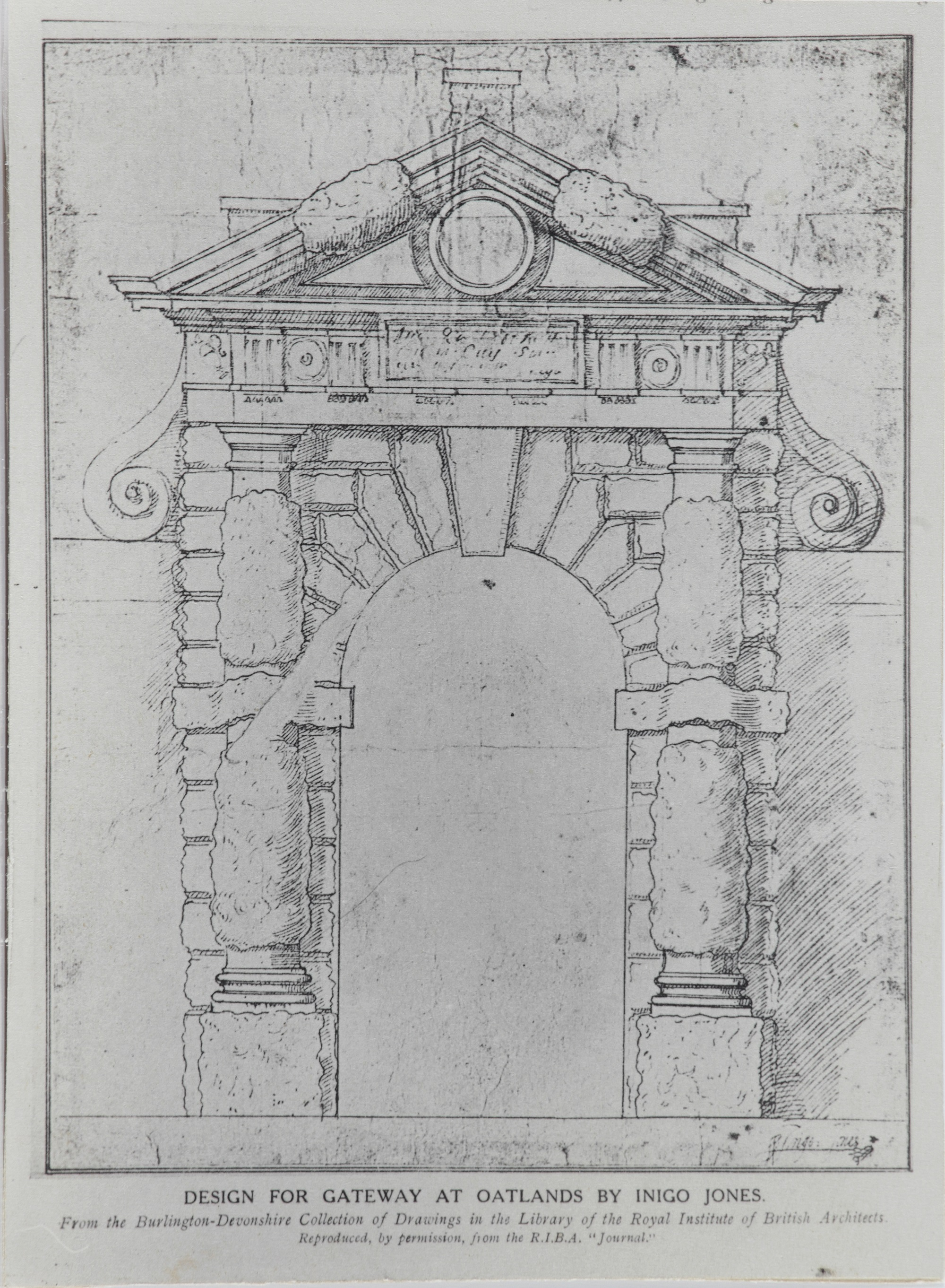 Black and white print on card of a drawing for a 'Design for a Gateway at Oatlands by Inigo Jones'.