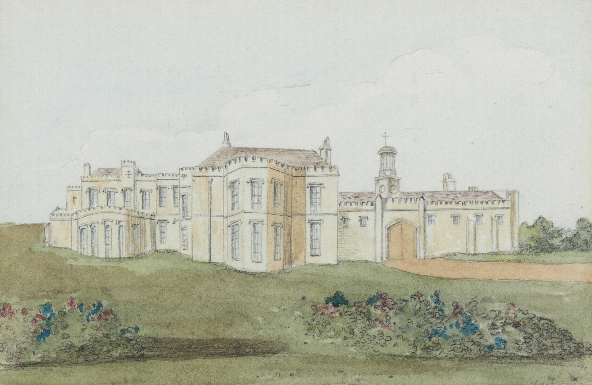 Watercolour of Oatlands House with lawn in front, during the occupation by the Duke of York. The original is in the British Museum.