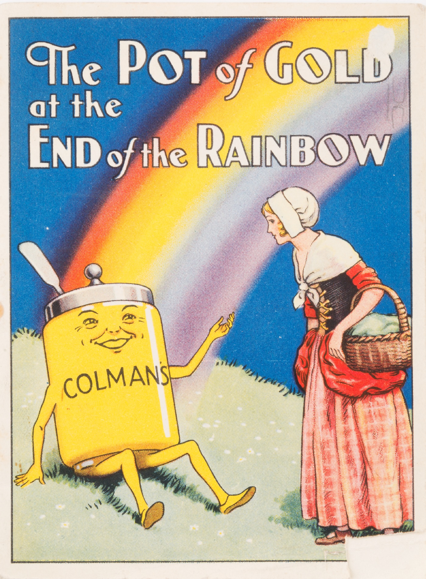 Paperback book entitled 'The Pot of Gold at the end of the Rainbow' with advertisements for Colman's produced on the back, c.1970s.