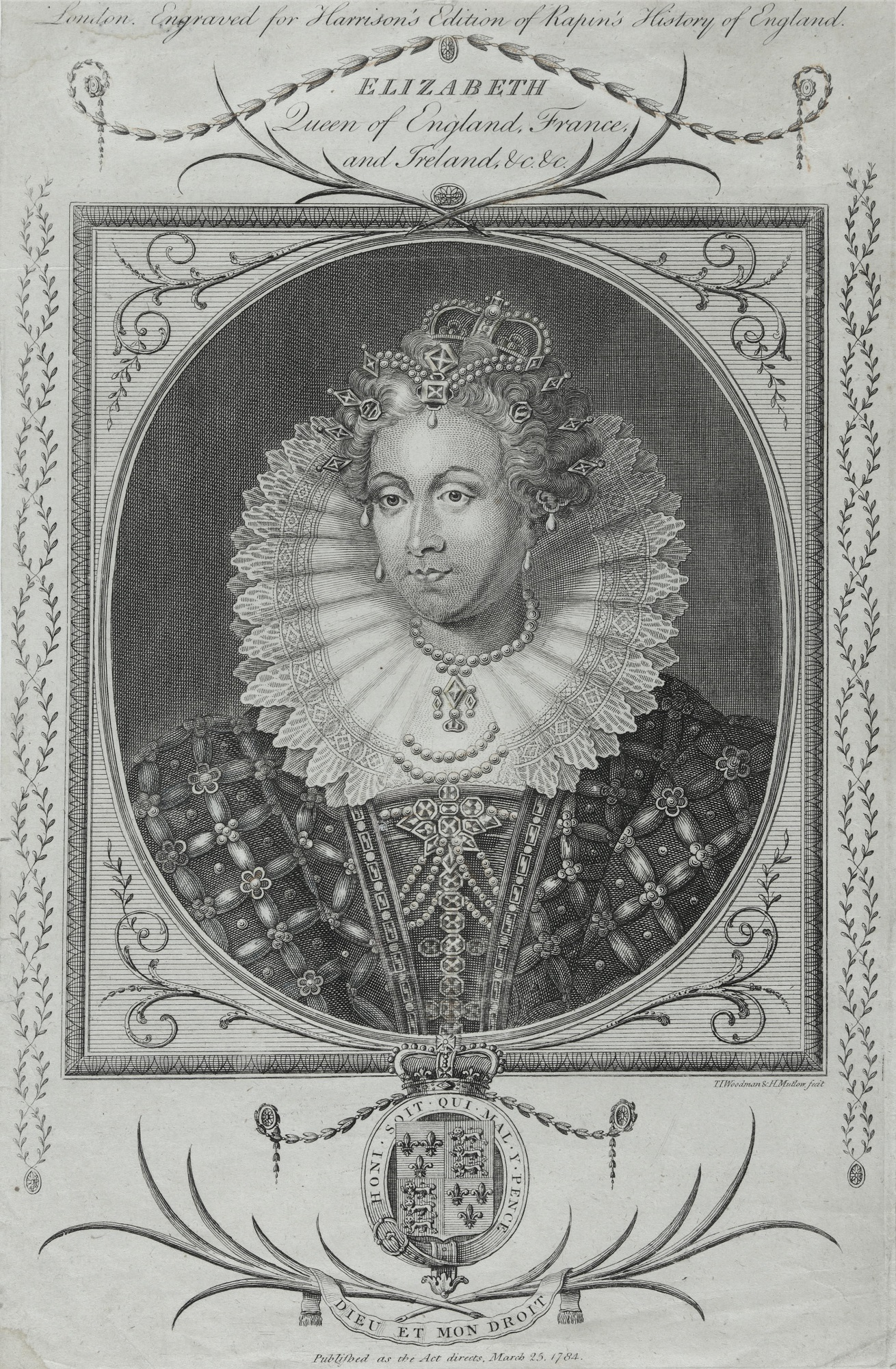 Black and white print of Queen Elizabeth I. Portrait showing a high ruff, in an oval medallion,. set in a square frame, outlined with leaves. The Royal coat of arms is at the bottom of the print. Across top words