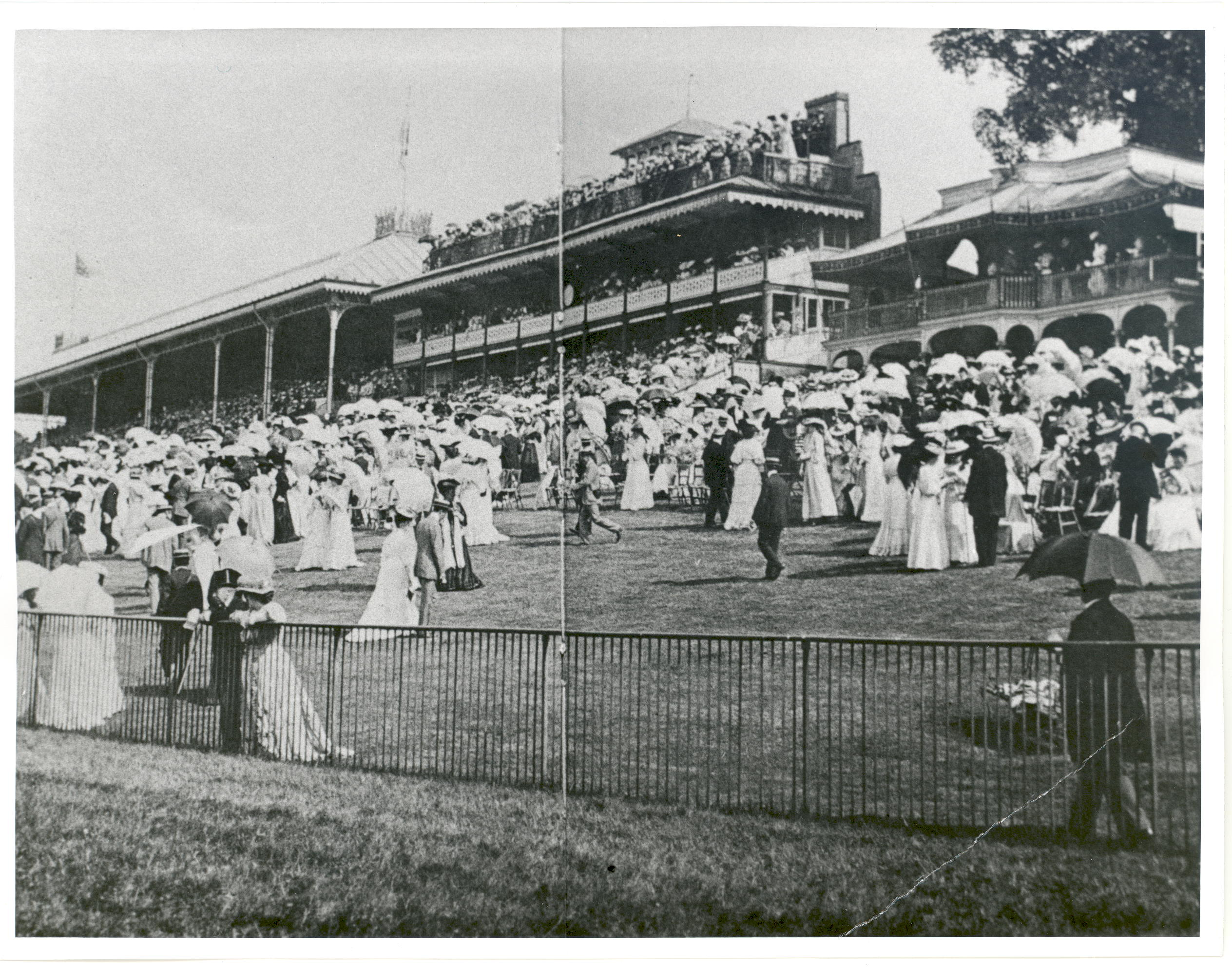 Photo of crowds in the Grandstand at the Sandown races, 1890s.