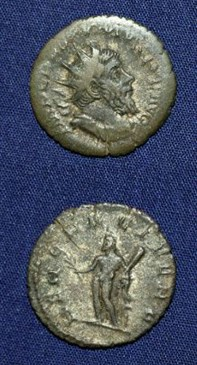 Two sides of a coin from Roman Britain, Antoninanus, AD 256 – 68.