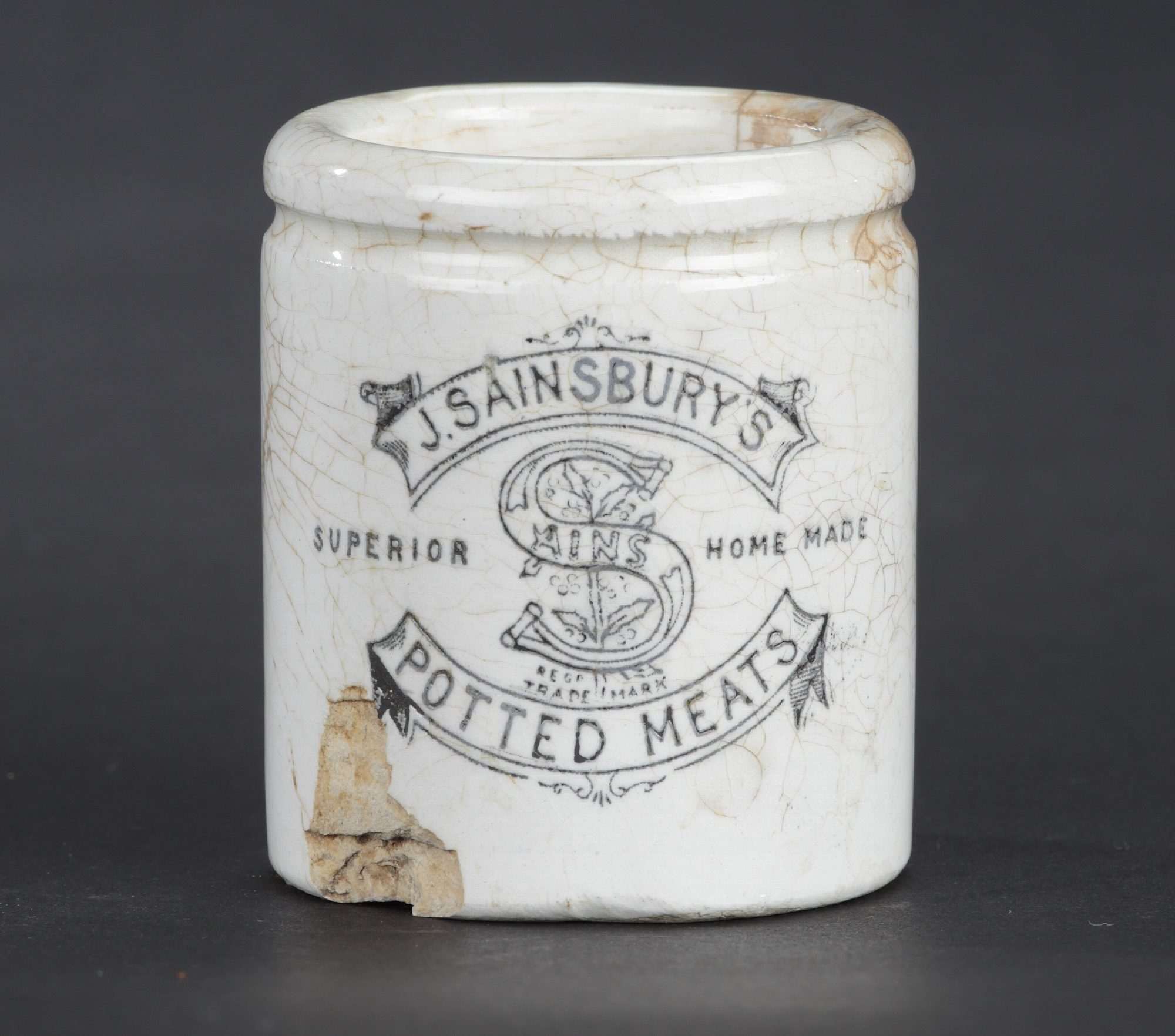 Sainsbury's Potted Meat jars in white earthenware.