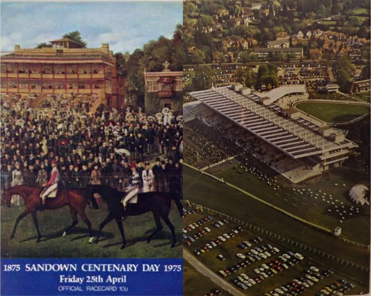 Sandown centenary day racecard, 1975, front cover (left) and back cover (right).