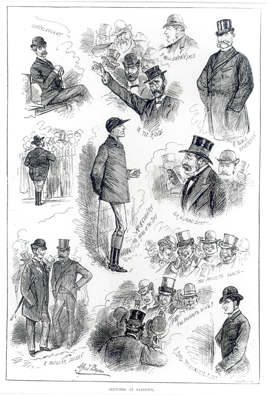 Engraving of men at Sandown, c. 1890s.