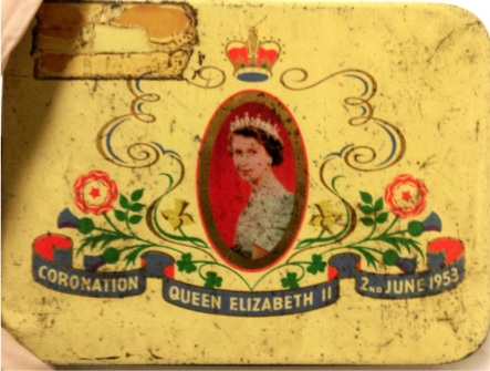 Cadbury Bournville selection chocolate box tin, issued to commemorate the coronation of Queen Elizabeth II on 2nd June 1953.