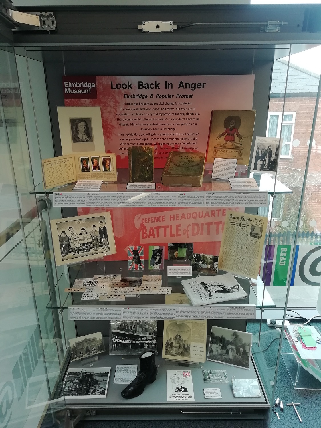 The Look Back in Anger display at Cobham Library, 2020-21.