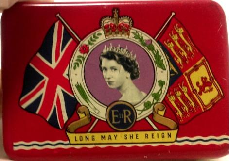 Souvenir Oxo tin made to celebrate the coronation of Queen Elizabeth II, 2nd June, 1953.