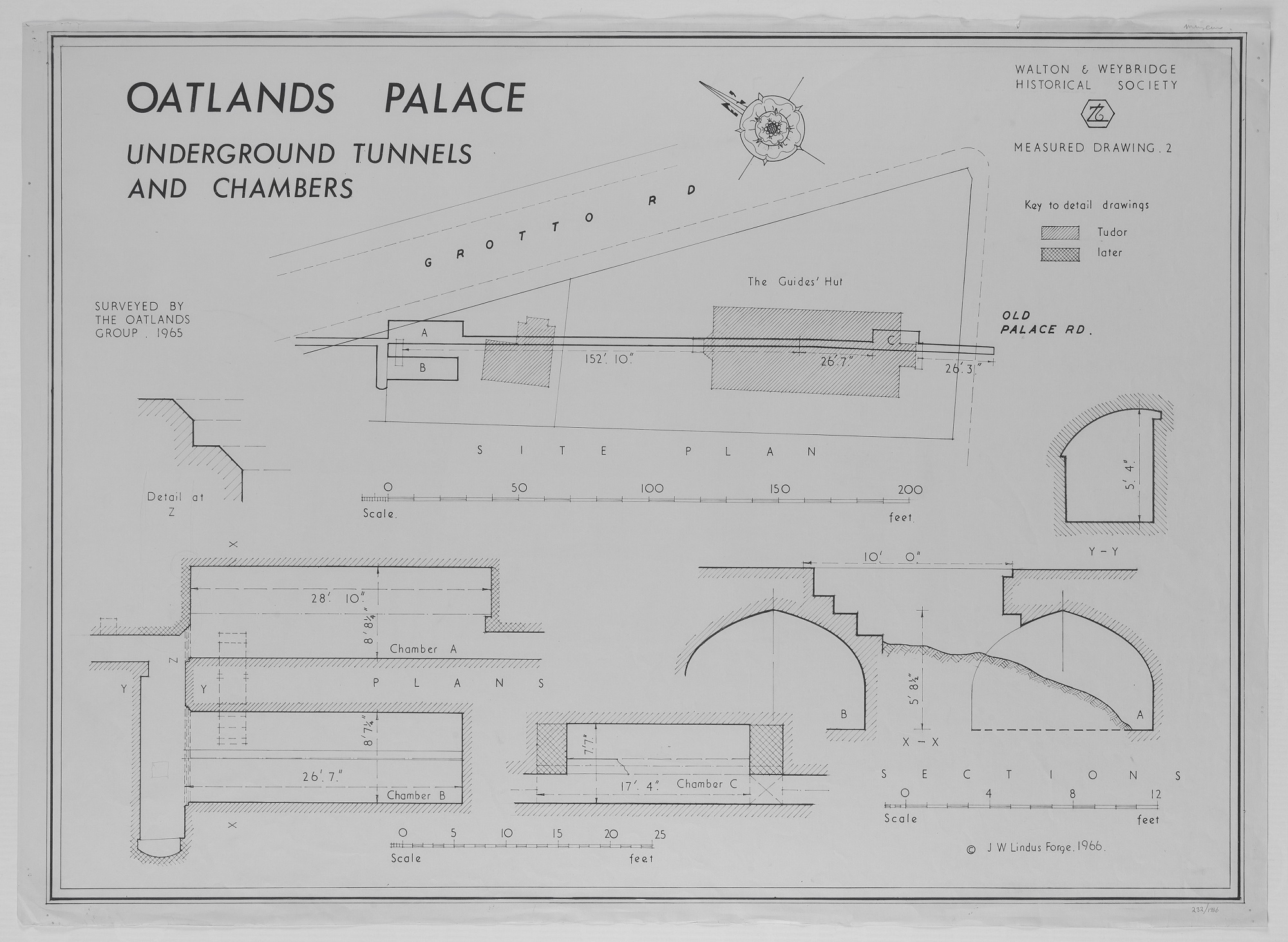 Plan and elevations of Underground drains and chambers on the site of Oatlands Palace.