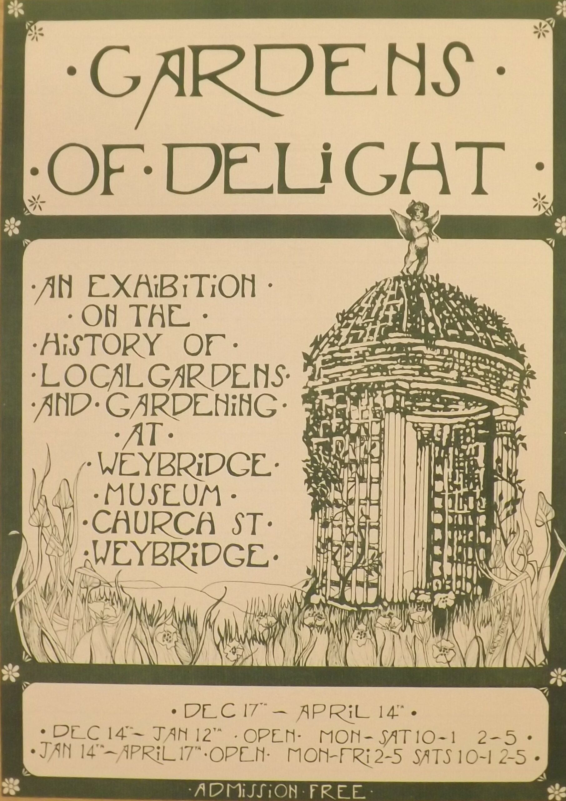 Museum poster from Weybridge Museum (now Elmbridge Museum) advertising their 'Gardens of Delight' exhibition c.1980s, in their former gallery space above Weybridge Library, Church Street.
