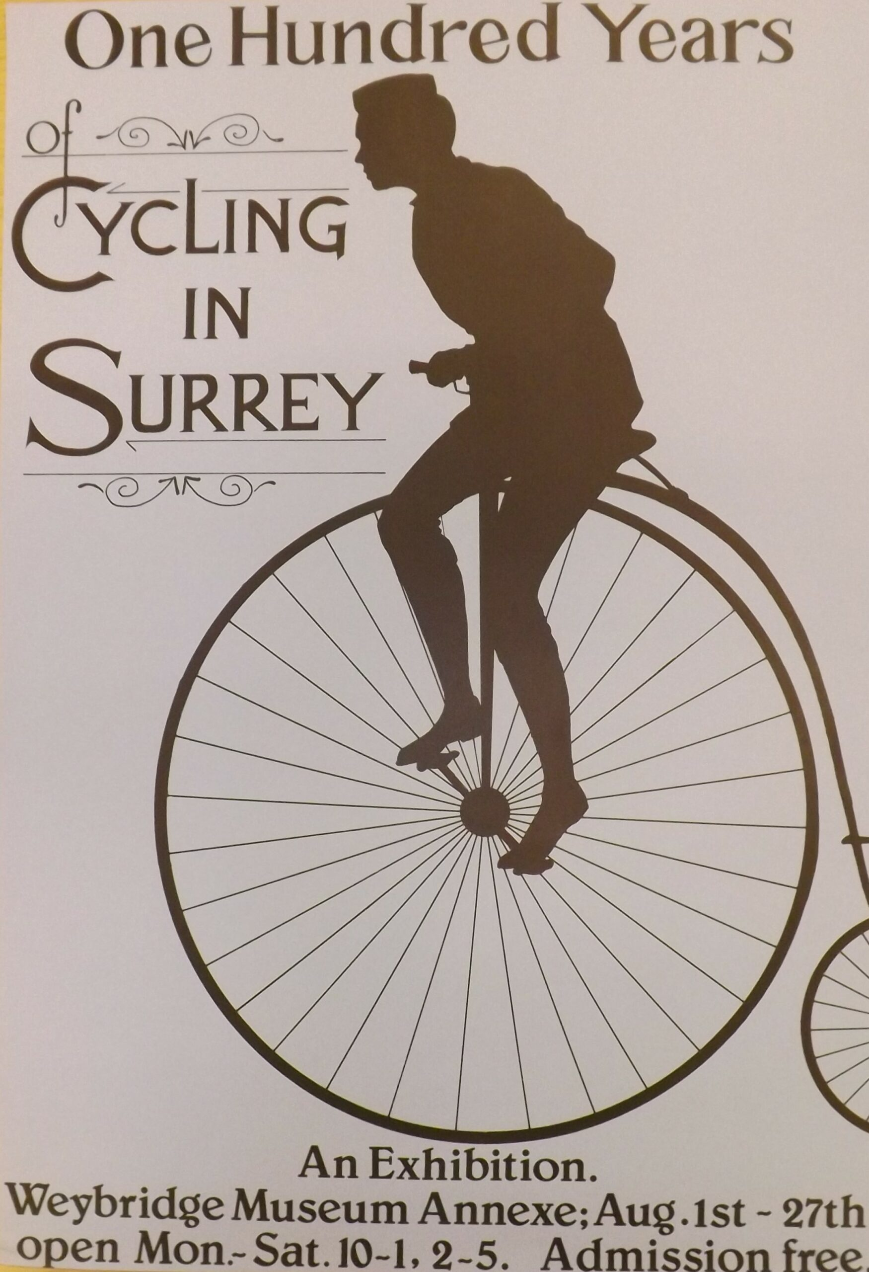 Museum poster from Weybridge Museum (now Elmbridge Museum) advertising their '100 Years of Cycling in Surrey' exhibition c.1980s, in their former gallery space above Weybridge Library, Church Street.