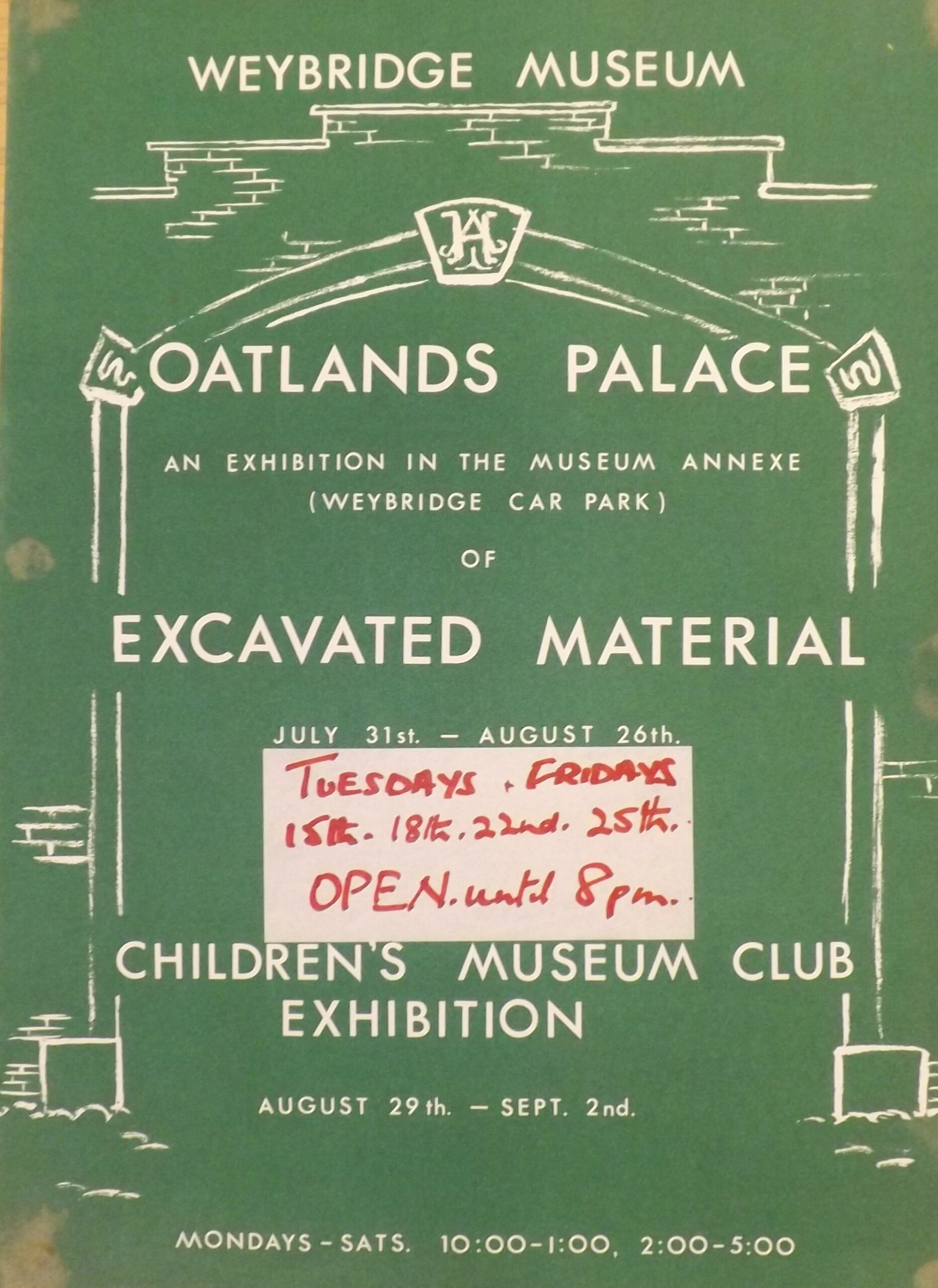 Museum poster from Weybridge Museum (now Elmbridge Museum) advertising an 'Oatlands Palace Excavated Material' exhibition in 1982, in their former gallery space above Weybridge Library, Church Street.