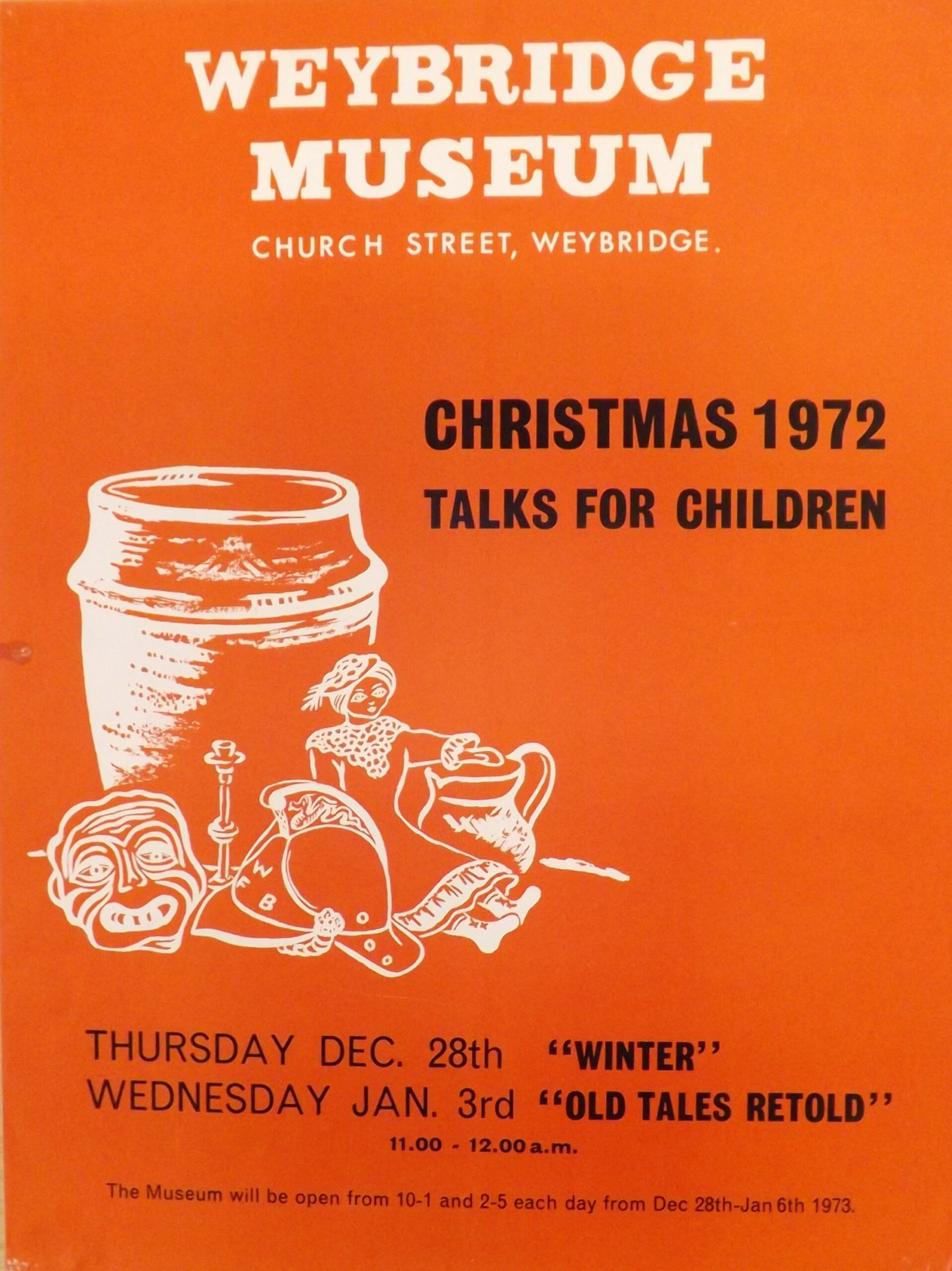 Museum poster from Weybridge Museum (now Elmbridge Museum) advertising 'Christmas Talks for Children' in 1972 that were put on in their former gallery space above Weybridge Library, Church Street.