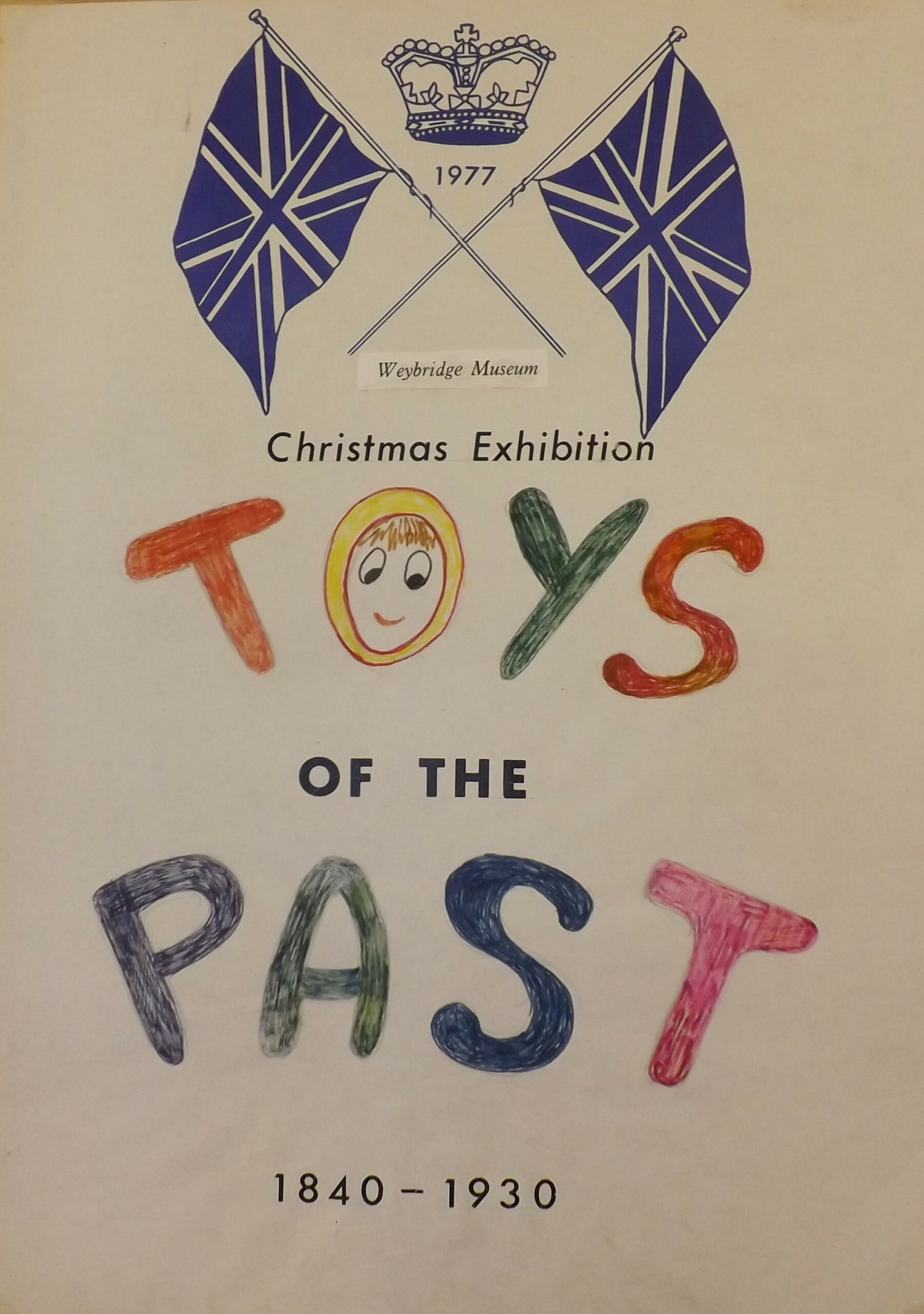 Museum poster from Weybridge Museum (now Elmbridge Museum) advertising their 'Toys of the Past' exhibition in 1977, in their former gallery space above Weybridge Library, Church Street.