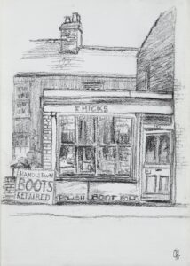 Charcoal drawing by Richard Haynes of R. Hicks, boot and shoe repairer's shop in East Molesey, initialled