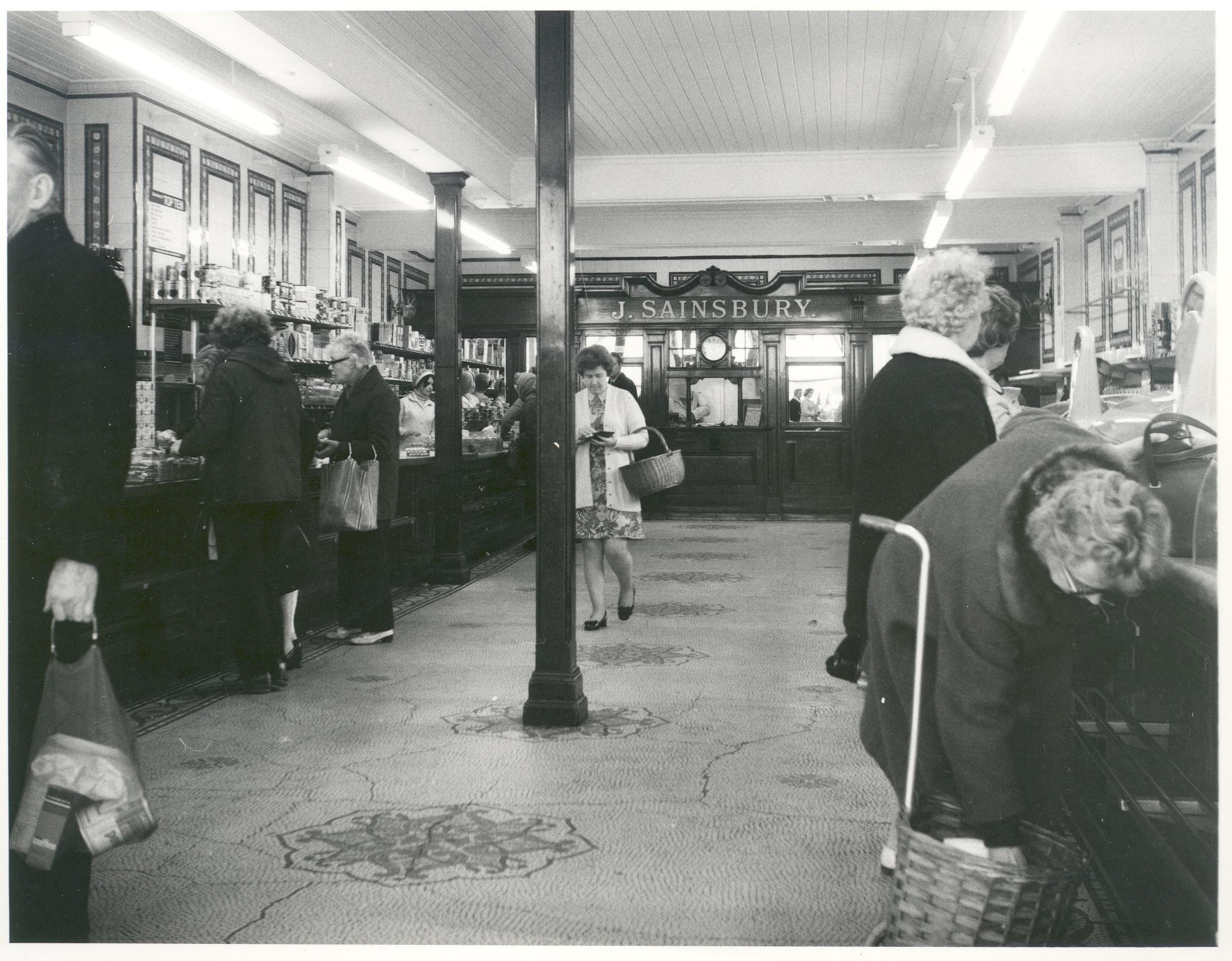 Inside of J. Sainsbury's shop in Weybridge High Street, c.1970s.
