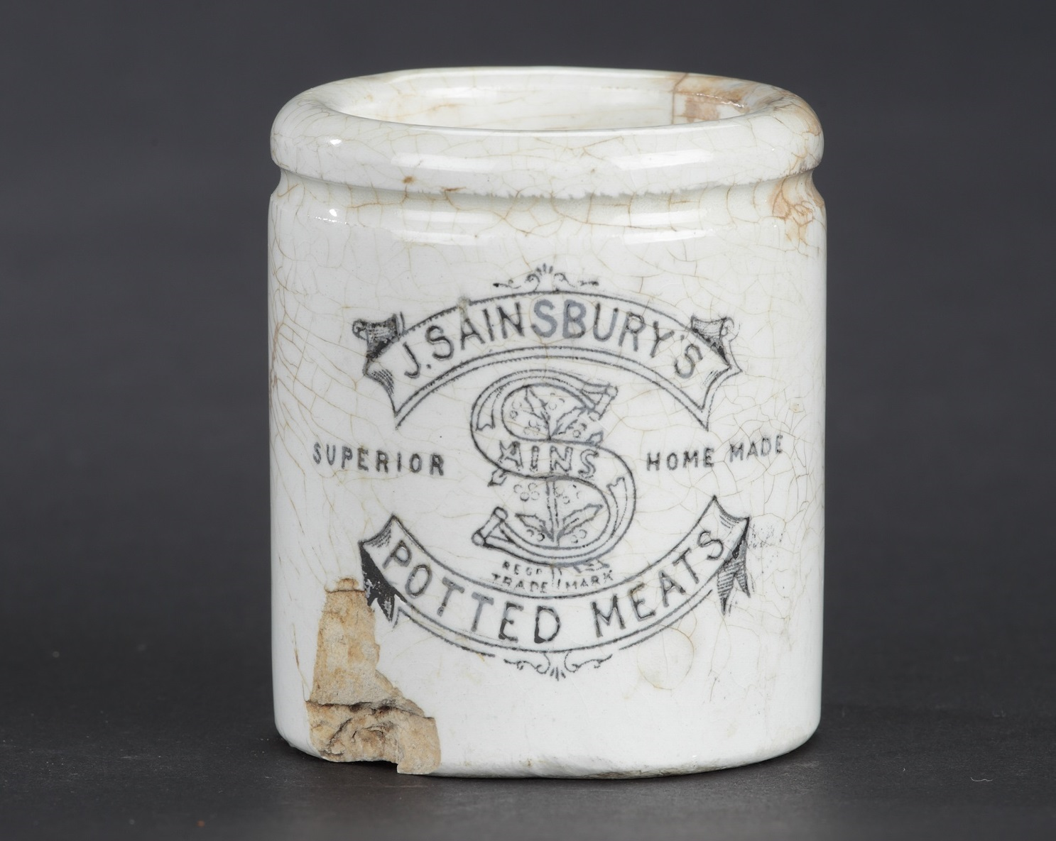 Sainsbury's Potted Meat jar in white earthenware, c.1960s