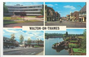 A postcard showing some of the primary shopping streets in Walton, as well as boats on the river Thames. All of the photos were taken in the 1960s.