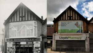 Woolworths at 16 Cobham High Street, c.1950s-60s. Courtesy of Terry Gale (left), and The former site of Woolworths, now occupied by Lloyds Pharmacy. Courtesy of Mark Worsfold (right). Both contributed by Cobham Conservation & Heritage Trust.