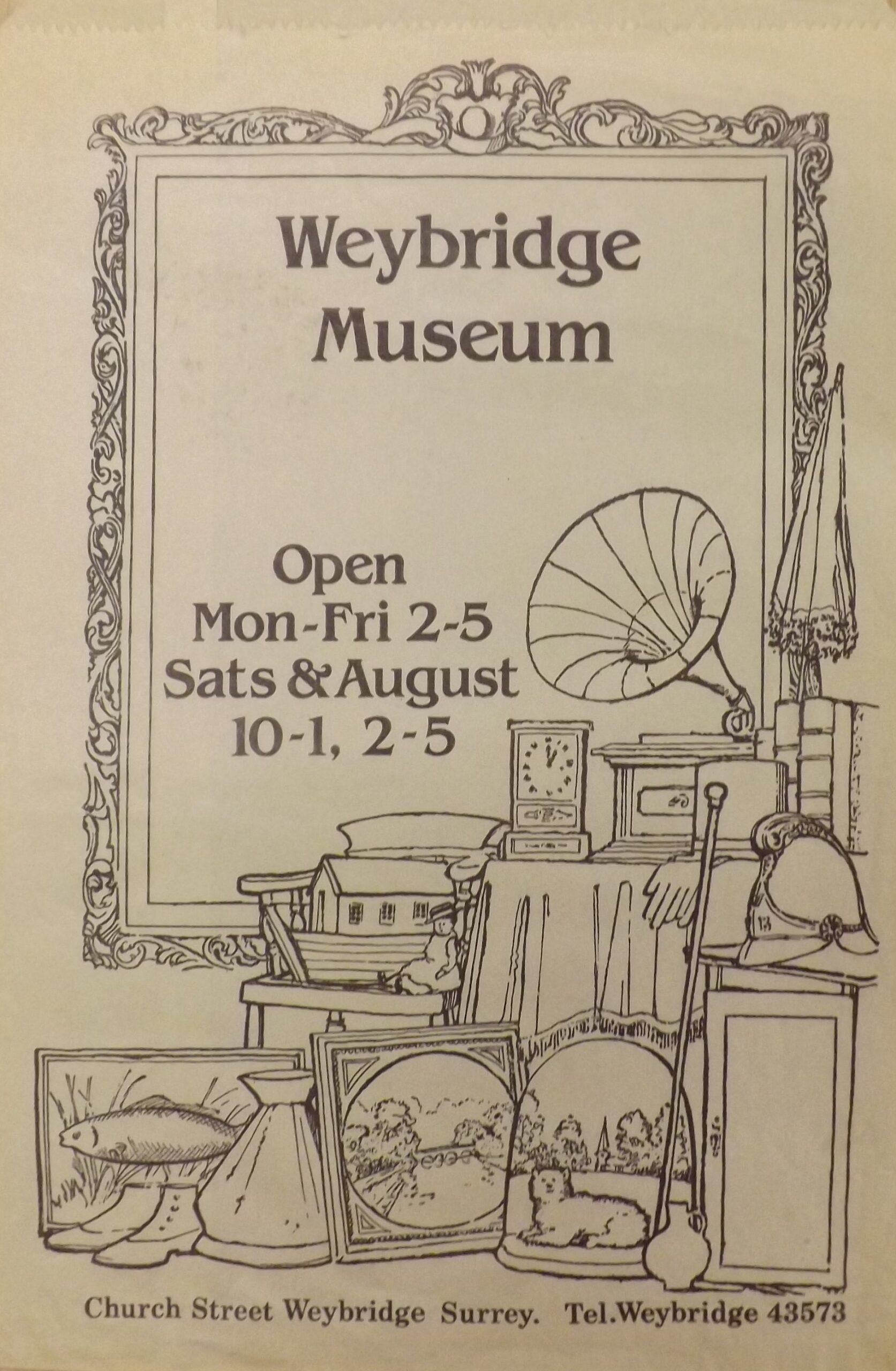 Paper bag from the former Weybridge Museum shop, 1974.