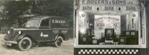 E. Rogers & Sons van in the 1950's (left) and a window display at Rogers & Sons' shop, Weybridge High Street, c.1950s (right).