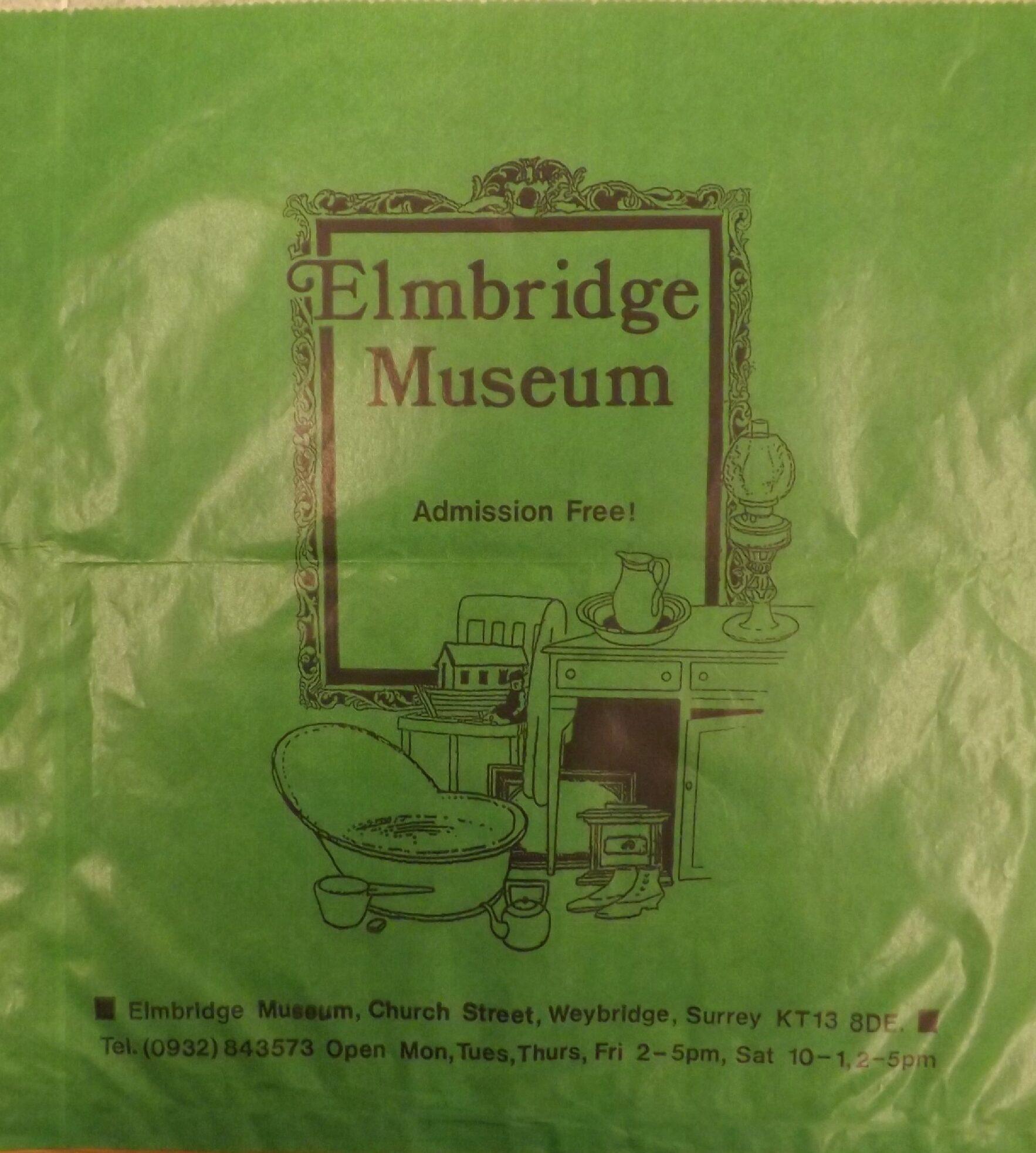 Paper bag from the former Elmbridge Museum shop, c.1990s.