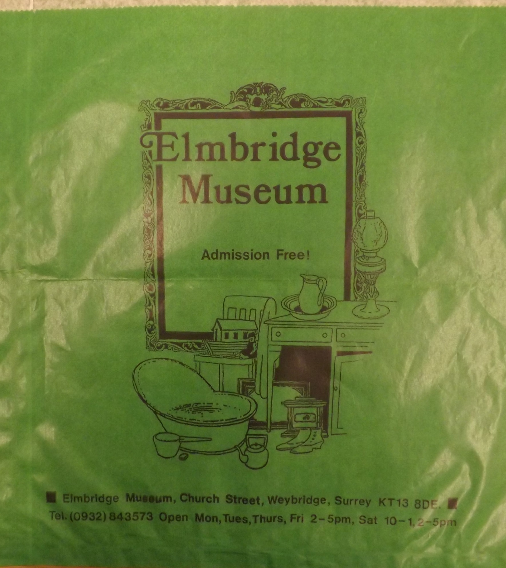 Paper bag from the former Weybridge Museum shop, c.1990s.
