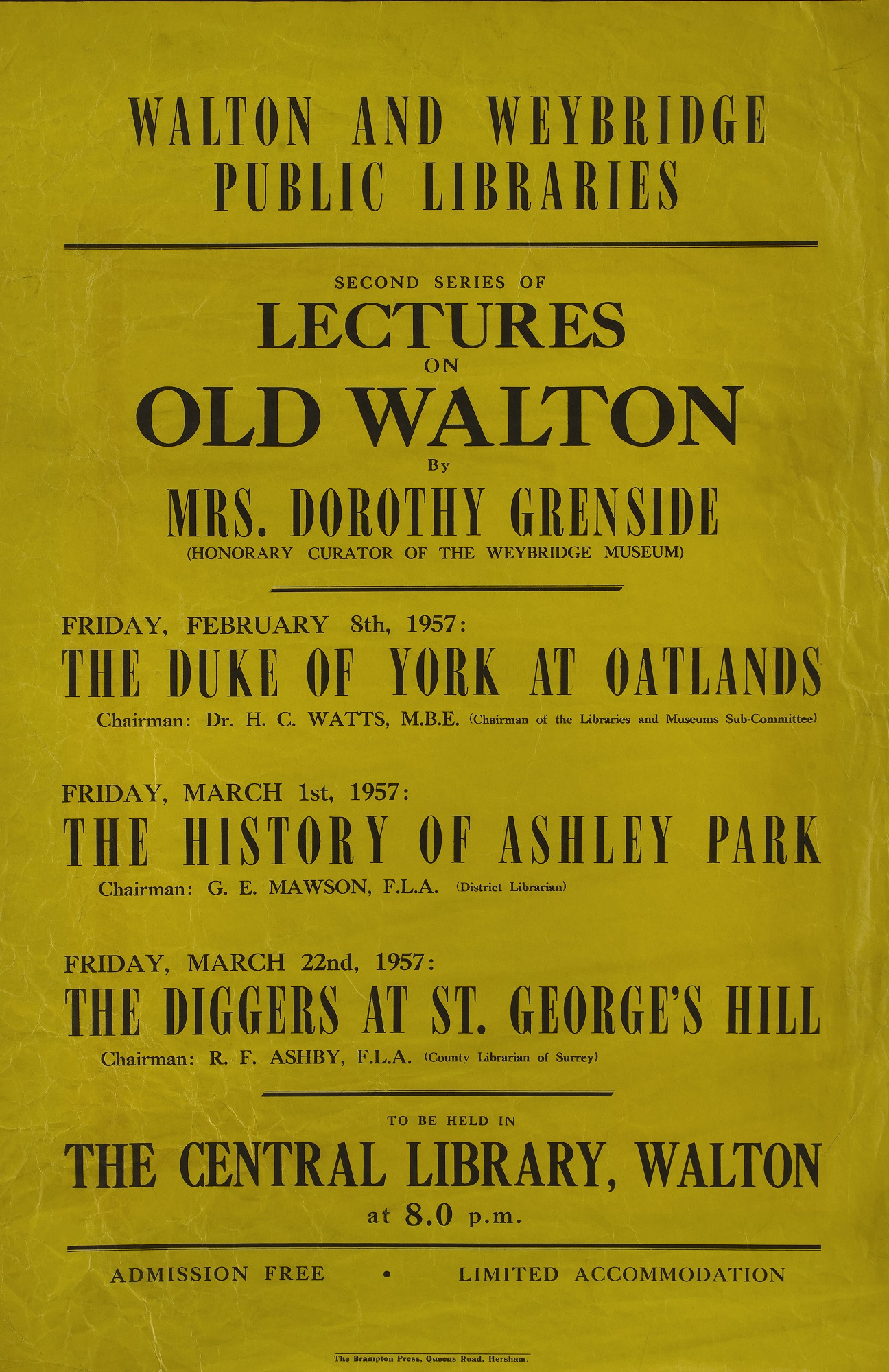 A poster listing public lectures on old Walton by Dorothy Grenside (former Weybridge Museum Curator) held at the former Walton Library, 1957.
