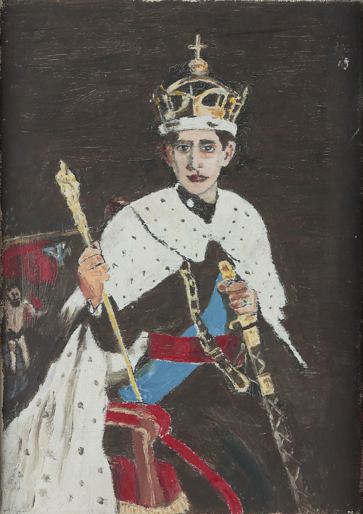 Oil on Canvas portrait of Charles, Prince of Wales, painted c. mid-20th Century.