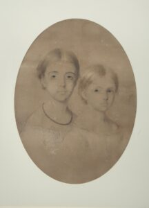Pastel portrait of Frederica Gill (left) and Madeline Gill (right), by Charles Allen Duval, 1858.