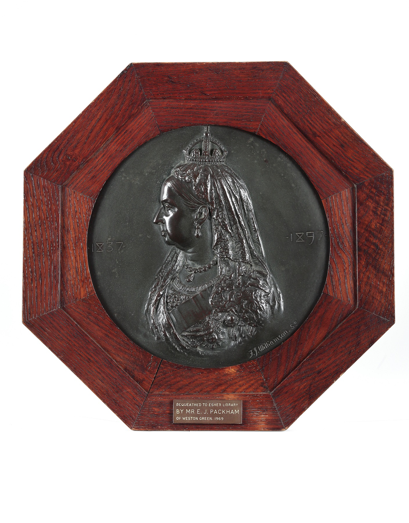 Bronze of Queen Victoria to commemorate her Diamond Jubilee, made in 1897 by F.J. Williamson.