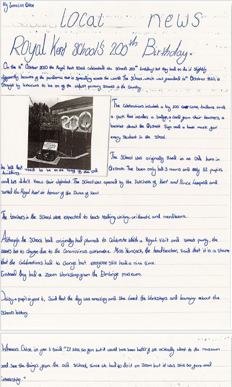 Chloe has written a newspaper article for the 'Local News' paper. The article is accompanied by an image of balloons in the shape of a '200' next to the old school bell.