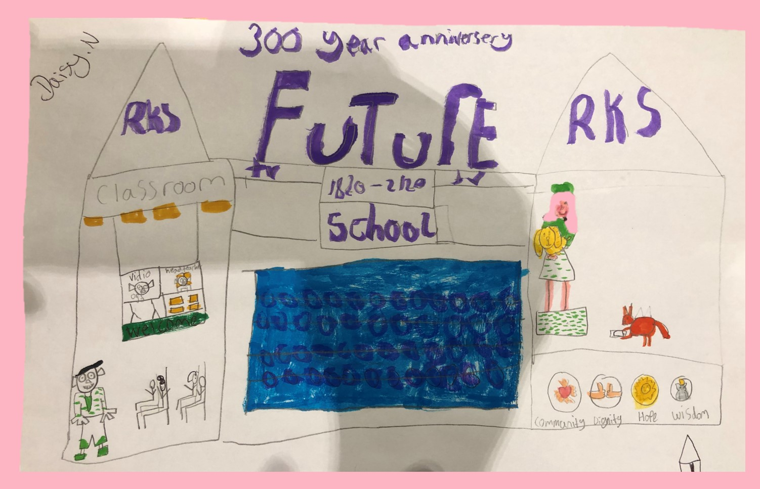 Daisy has drawn a picture of what her school will be like in 100 years time using pencil and felt tip pens. Her picture includes pets, a swimming pool and a futuristic classroom!