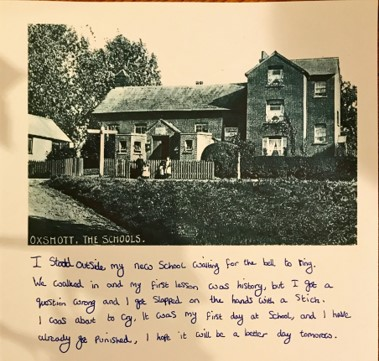 Chloe has handwritten her diary using an ink pen. Above her writing, she has included an old image of the school.