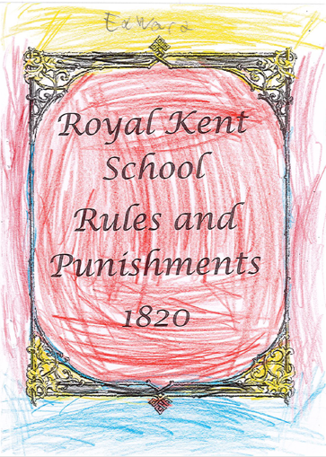 Edward has decorated a copy of the 'Royal Kent School Rules and Punishments Book'. He has used red, yellow and blue pencils in his design.